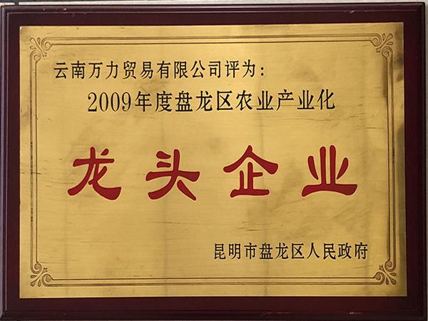万力贸易荣获2009年度龙区农业产业化龙头企业